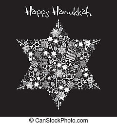 Happy Hanukkah Star of David with star made up of menorahs,...
