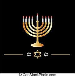 Happy Hanukkah symbol- Jewish holiday celebration with star of David symbol