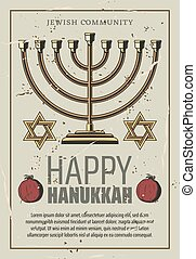Happy Hanukkah, vector gold menorah - Happy Hanukkah holiday...