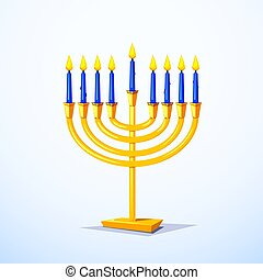Happy Hanukkah vector illustration - Gold colors menorah...