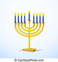 Happy Hanukkah vector illustration - Gold colors menorah...