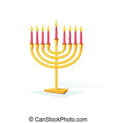 Happy Hanukkah, vector illustration - Happy Hanukkah, gold...