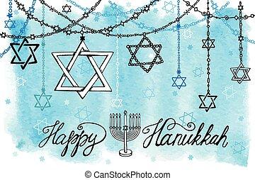 Happy Hanukkah.David Star garlands.Watercolor splash - Happy...