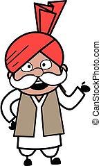 Happy Haryanvi Old Man Cartoon Illustration