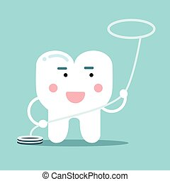 Happy healthy cartoon tooth character with flossing, dental vector Illustration for kids