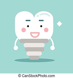 Happy healthy cartoon tooth implant character, dental vector Illustration for kids