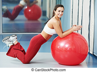 Happy healthy woman with fitness ball - woman with fitness...