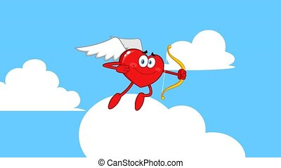 Happy Heart Cupid Cartoon Character Flying With Bow And Arrow. 4K Animation Video Motion Graphics With Background