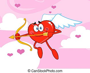 Happy Heart Cupid Cartoon Character Flying With Bow And Arrow