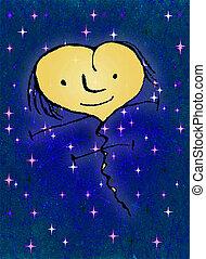 Happy Heart Flying Raster Illustration