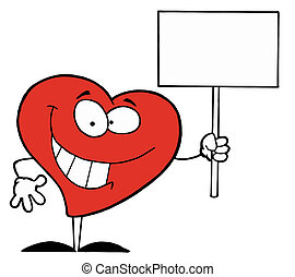 Happy Heart Holding A Blank Sign
