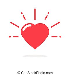 Happy heart icon vector isolated on white background