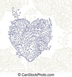 Happy Heart of doodle ornament in zentangle style. Henna Tattoo