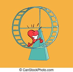 Happy heart running on a hamster wheel.