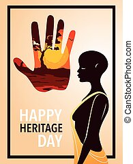 happy heritage day with person afro, poster vector illustration design