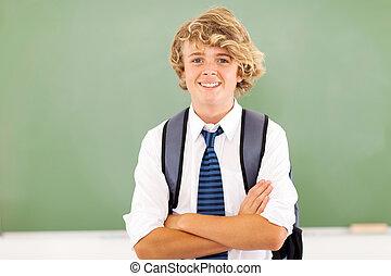 happy high school student in classroom