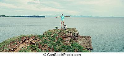 Happy hiker girl
