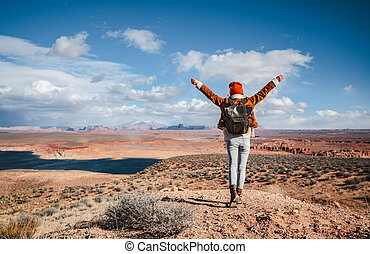 Happy hiker in the desert, Arizona