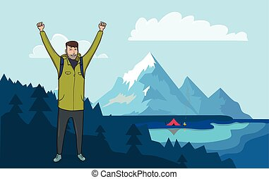 Happy hiker man with raised hands in the mountains. The boat on the water, campfire next to the tourist tent on the shore. Vector illustration.