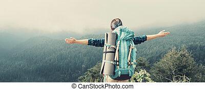 Happy hiker outdoor