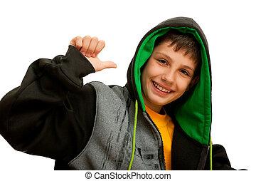 Happy hip-hop dancer - A happy hip-hop dancer; isolated on ...