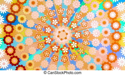 Happy Hippie Retro Flower Circle in Bright Fun Colors Looping Animated Background
