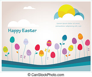 Happy hipster Easter colorful spring weather with eggs as flowers