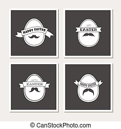 Happy Hipster Easter - set of stylish eggs cards or invitations