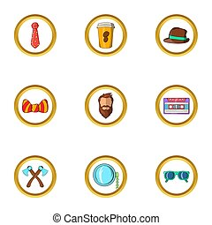 Happy hipster icon set, cartoon style