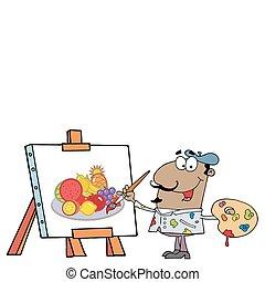 Happy Hispanic Artist Painter