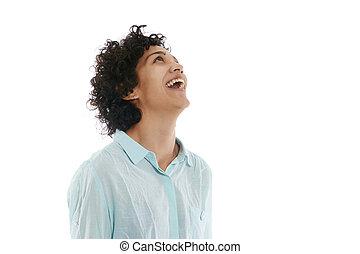 happy hispanic business woman looking up