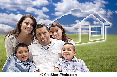 Happy Hispanic Family Portrait Sitting in Grass Field with Ghosted House Figure Behind.