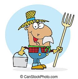 Happy Hispanic Farmer