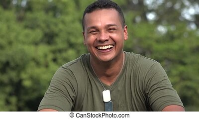 Happy Hispanic Male Soldier
