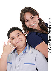 Happy hispanic mother and son portrait
