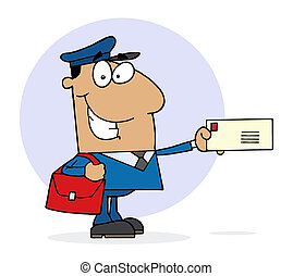 Happy Hispanic Postal Worker - Hispanic Postal Worker Mail...