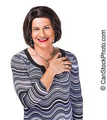 Happy smiling Hispanic transgender woman on white background