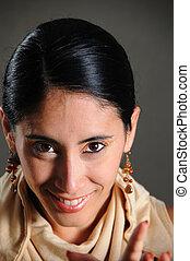 Happy hispanic woman - Portrait of young beautiful hispanic...