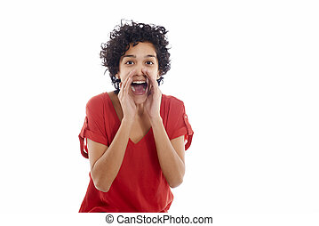Happy hispanic woman yelling at camera