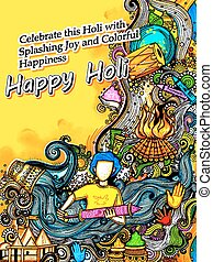 Happy Holi Background for Festival of Colors celebration...