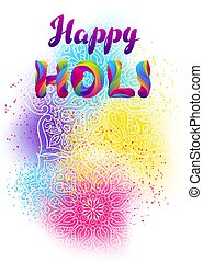 Happy Holi colorful background. Party banner for celebration...