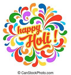 Happy Holi - Colorful festive Holi splash abstract...