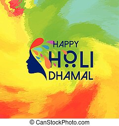 happy holi festival. multicolor holi background having creative typography