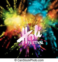 Happy Holi festival of colors. Vector holiday illustration ...