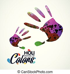 happy holi festival. white background having colorful handprints and creative typography