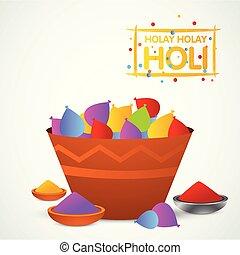 happy holi festival. white holi background having creative typography and colorful holi elements