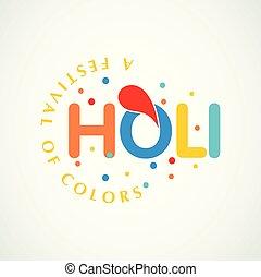 happy holi festival. white holi background having creative typography