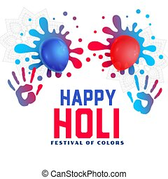 happy holi fun background with balloons and splashes