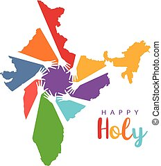 Happy Holi Hands in India Map Logo