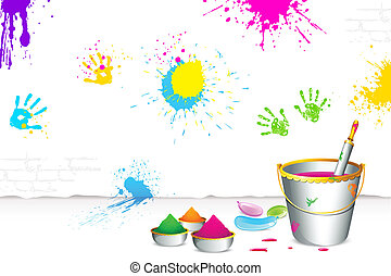 Happy Holi - illustration of colorful spalsh on wall with...